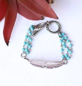 Punchy's Burnished Silver & Turquoise Feather Toggle Bracelet
