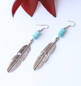 Punchy's Burnished Silver Feather with Turq Accents Earring