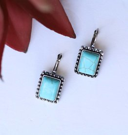 Punchy's Rectangle Turq Earrings