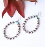 Punchy's Teardrop Silver Melon Earring with Turq Stone