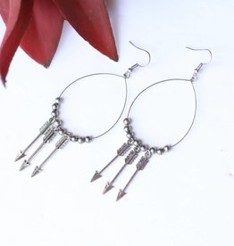 Punchy's Silver 3 Arrow Beaded Wire Teardrop Earring
