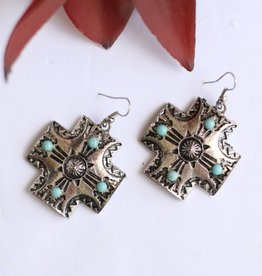 Punchy's Silver Etched Cross with TQ Stones Earring