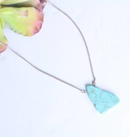 Punchy's Silver Single Turquoise Stone Necklace