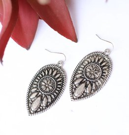 Punchy's Silver Teardrop Concho Earring Flower Detail