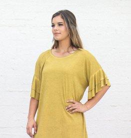 Punchy's Mustard Mineral Washed Ruffle Basic Swing Dress