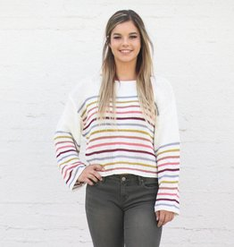 Punchy's Loose Knit Cream Striped Sweater