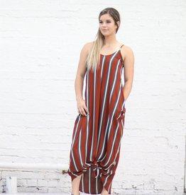 Punchy's Rust Striped Flowy Maxi Dress