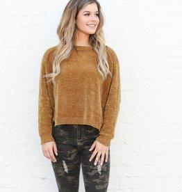 Punchy's Mustard Boxy Chenille Sweater