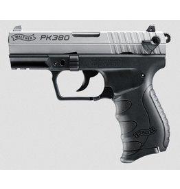 "Handgun New Walther PK380 380 Auto, Black w/Nickel Slide, 3.6"" barrel, 10 rd"