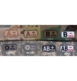 Patches Mil-Spec Monkey, Blood Type, ACU Dark, A- Neg