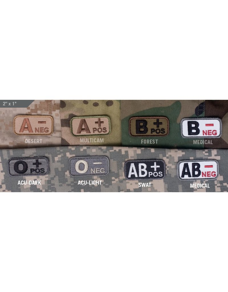 Patches Mil-Spec Monkey, Blood Type, Desert, B- Neg