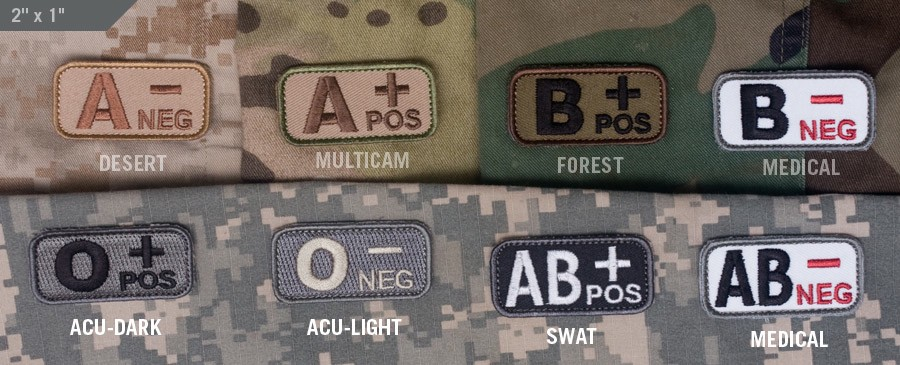 Patches Mil-Spec Monkey, Blood Type, Desert, B- Neg