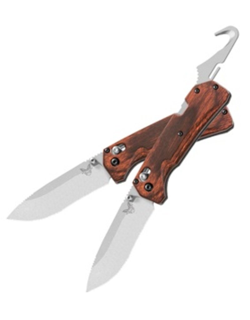 Folding Benchmade Grizzly Creek Folder with Hook, Wood Grips