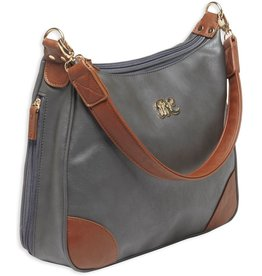 Pack and Etc (Purse) Bulldog Hobo Conceal Carry Purse,  Gray with Tan Trim, includes holster