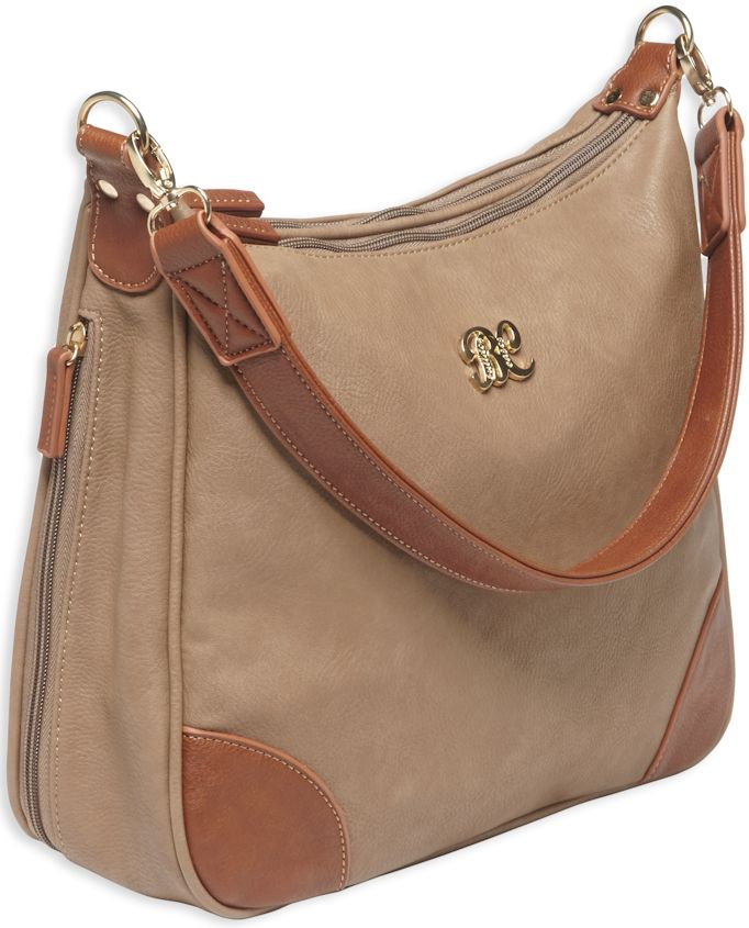 Pack and Etc (Purse) Bulldog Hobo Conceal Carry Purse, Taupe with Tan Trim, includes holster