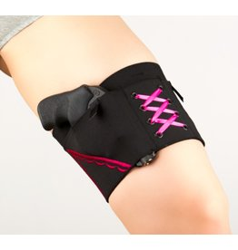 Nylon Can Can Concealment Classic Garter - Large - Hot Pink