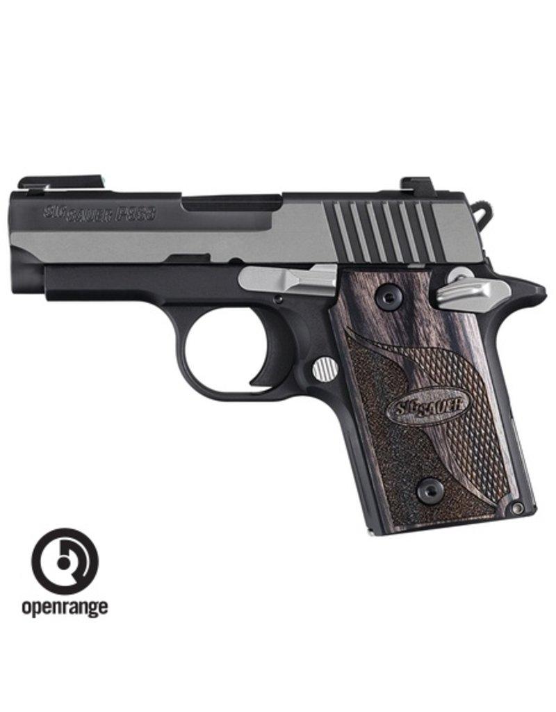 Handgun New Sig Sauer P938 Equinox, 2 tone, Blackwood Grips, Night Sights, 9mm, 6 rd