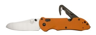 Folding Benchmade Triage, Triple Utility Tool, includes Knife, Safety Hook and Glass Breaker. ORANGE