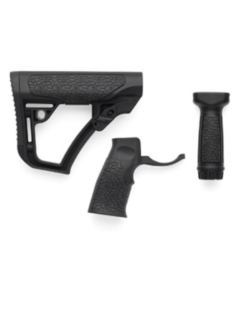 Add On Daniel Defense Black Buttstock, Pistol Grip and Vertical Foregrip Combo Pack