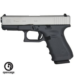 Handgun New Glock 19 Gen 4, 9 mm, 15 rd, 3 mags, Battleship Grey Cerakote w/Stainless Steel Slide, Made in the USA