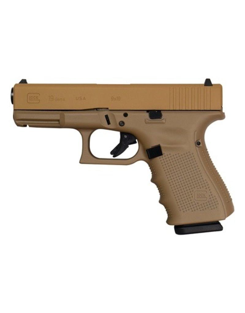Handgun New Glock 19 Gen 4, 9 mm, 15 rd, 3 mags, Tactical Coyote Tan Elite Cerakote, Made in the USA