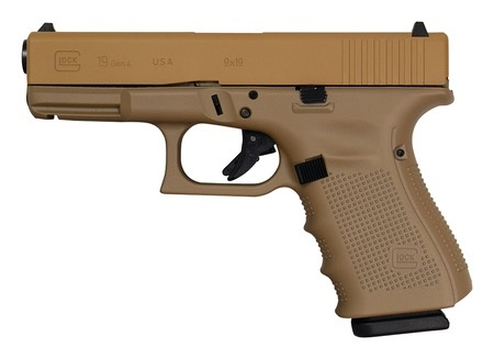 Handgun New Glock 19 Gen 4, 9 mm, 15 rd, 3 mags, Tactical Coyote Tan Elite Cerakote, Made in the USA