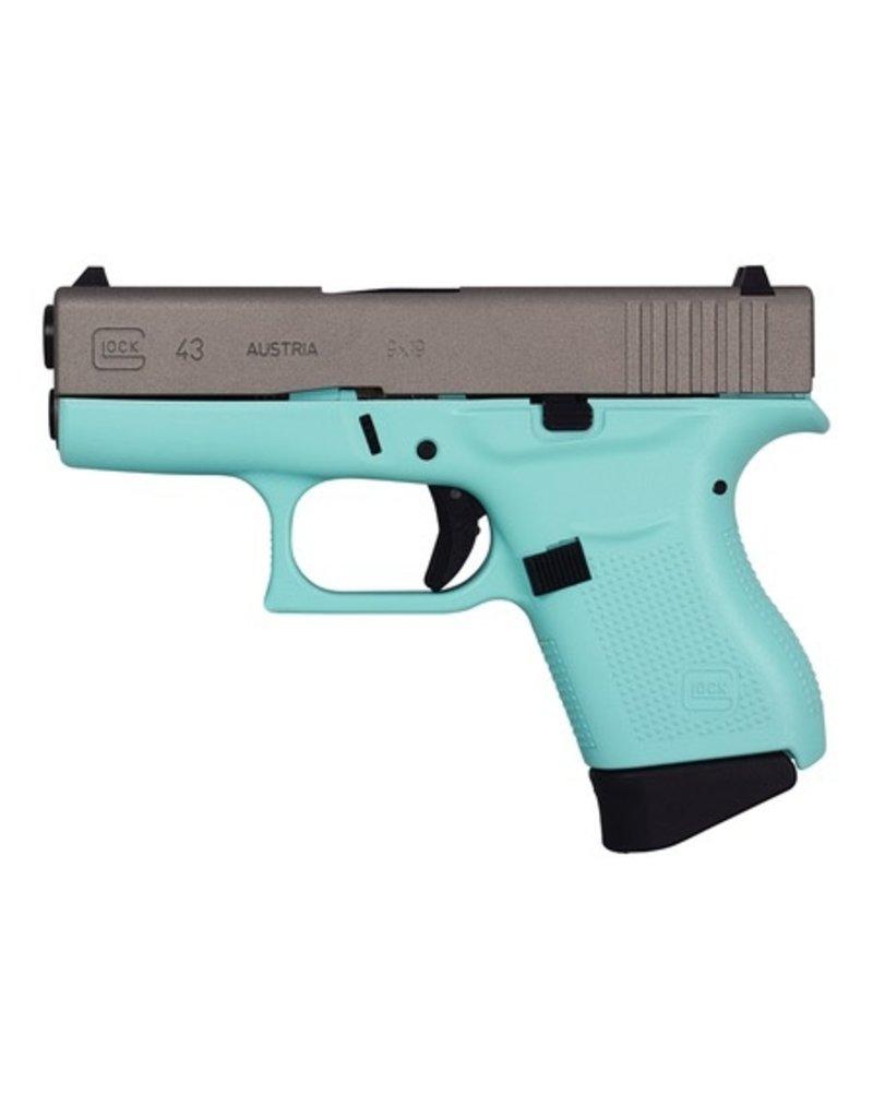 Handgun New Glock 43, 9mm, 6 rds, Cerakote Eggshell Blue with a Stainless Slide
