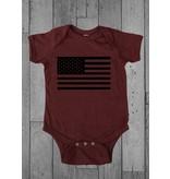 Shirt Short American Flag Infant Garnet Onesie 18MO