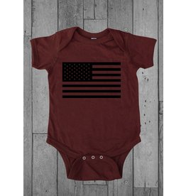 Shirt Short American Flag Infant Onesie, 12MO, Garnet