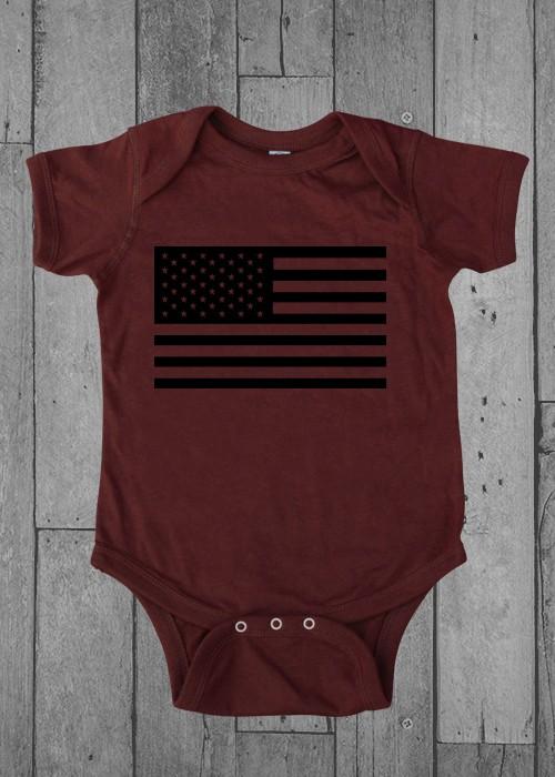 Shirt Short American Flag Infant Garnet Onesie 6MO
