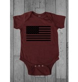 Shirt Short American Flag Infant Onesie, Newborn, Garnet