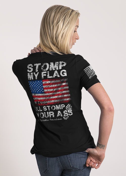 Shirt Short STOMP MY FLAG Tee, Dark Grey, Woman's Small
