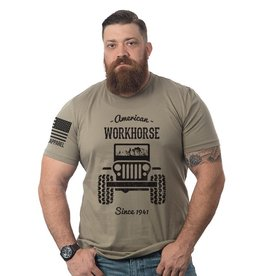 Shirt Short American Workhorse Tee, Military Green, Large