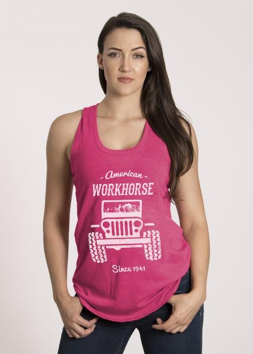 Shirt Short American Workhorse, Racerback Tank, Fuchsia Large