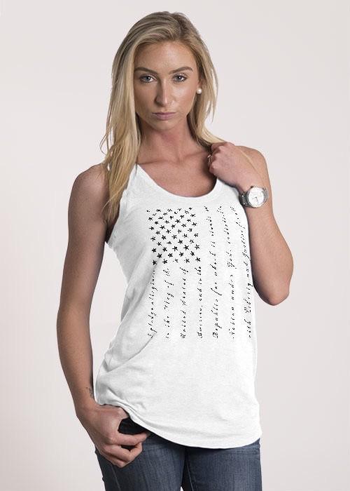 Shirt Short PLEDGE, Racerback Tank, WHITE, Woman's Medium