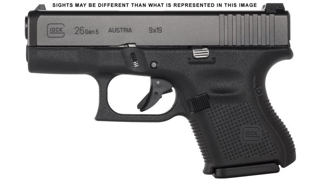 Handgun New Glock 26 Gen 5, 9mm, subcompact, 10rd, Black, Ameriglo Night Sights