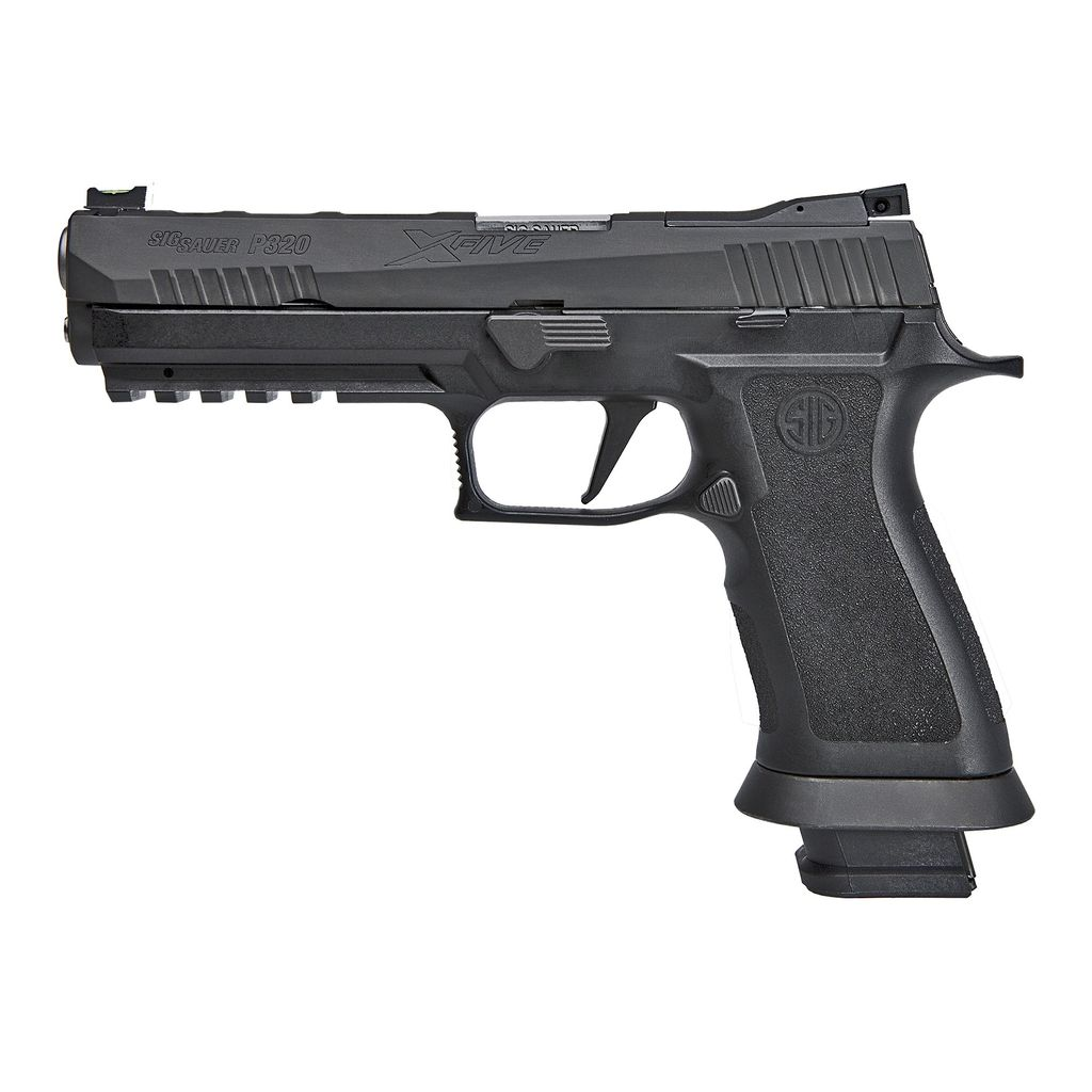 "Handgun New Sig Sauer P320 XFive, 9mm 5"" Bull Barrel, Fiber Optic Sights, Lightening cuts, X Grip, 21rd."