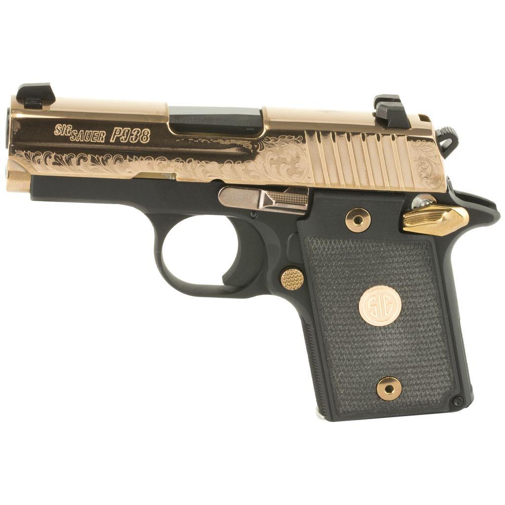 Handgun New Sig Sauer P938 Rose Gold, Black with gold engraving, NS, 9mm, 6 rd,