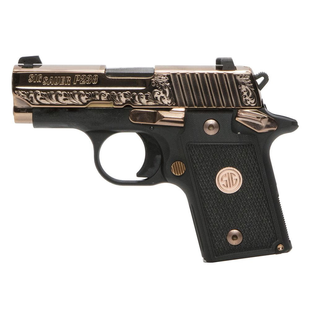 Handgun New Sig Sauer P238 Rose Gold, Black with gold engraving, NS, 380, 6 rd,