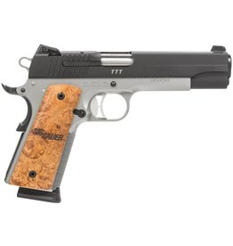 "Handgun New Sig Sauer 1911, .45, 5"", two tone, dehorned, match barrel, Night sights, wood grips, 8rd."