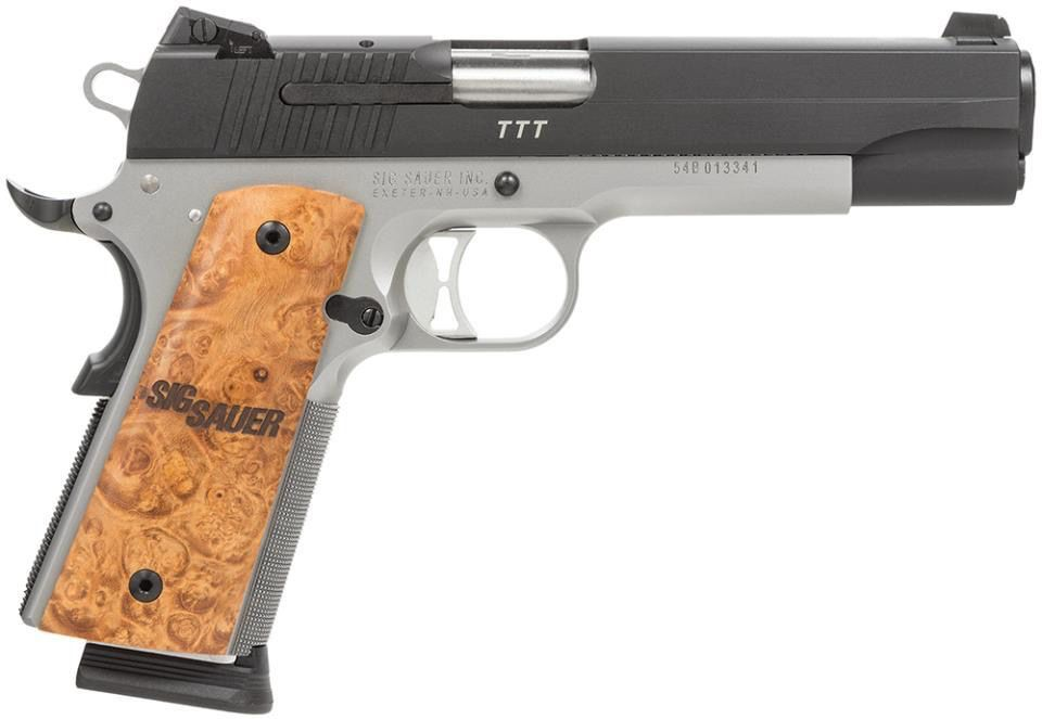 """Handgun New Sig Sauer 1911, .45, 5"""", two tone, dehorned, match barrel, Night sights, wood grips, 8rd."""