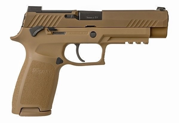 """Handgun New Sig Sauer, P320 M17, Striker Fired, 9MM, 4.7"""", Polymer Frame, Coyote Finish, DP Pro Plate, Manual Saftey, 17Rd, 2 Mags, Siglite Night Sights"""