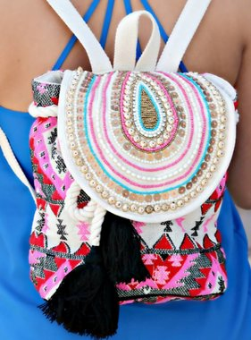 BEADED BOHO BACKPACK