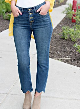 HIGH WAISTED BUTTON CROP FLARE DENIM