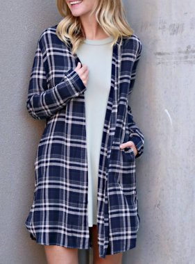 LAID BACK PLAID CARDIGAN