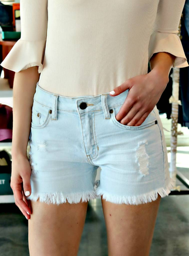 HIGH RISE FRINGE HEM SHORTS