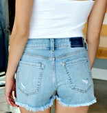 HIGH RISE BUTTON FLY FRAY SHORTS