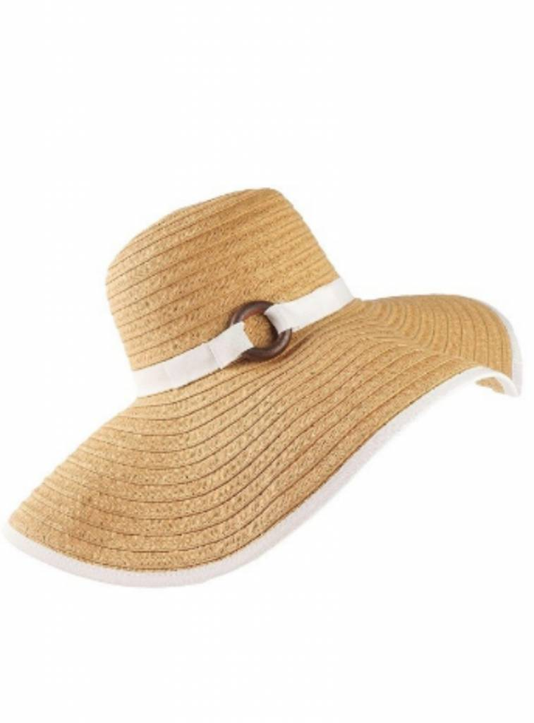 COLOR TRIM RESORT STRAW SUN HAT