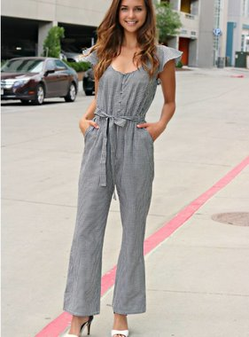LIVING IN A GINGHAM WORLD MIDI JUMPSUIT