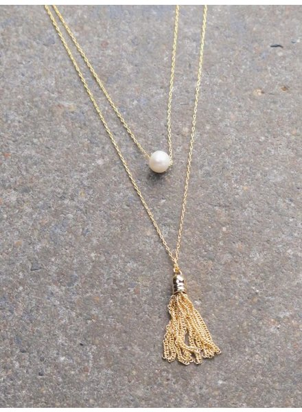 Gold Two layer fringe pearl necklace